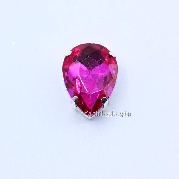 Все размеры слеза 24-Цвет стекло камень Пришить с украшением в виде кристаллов Стразы diamantes для шитья серебряной оправе в виде когтя для рукоделия Костюмы аксессуары - Цвет: rose