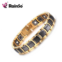 Rainso Health Bracelet for Men Black Gold color Tungsten Steel Therapy Magnetic Bracelet with Hematite High Quality JEW01434