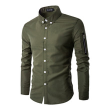 2017 Fashion men's casual shirt, comfortable casual long-sleeved shirt man, sleeves zipper decoration army green men's shirt