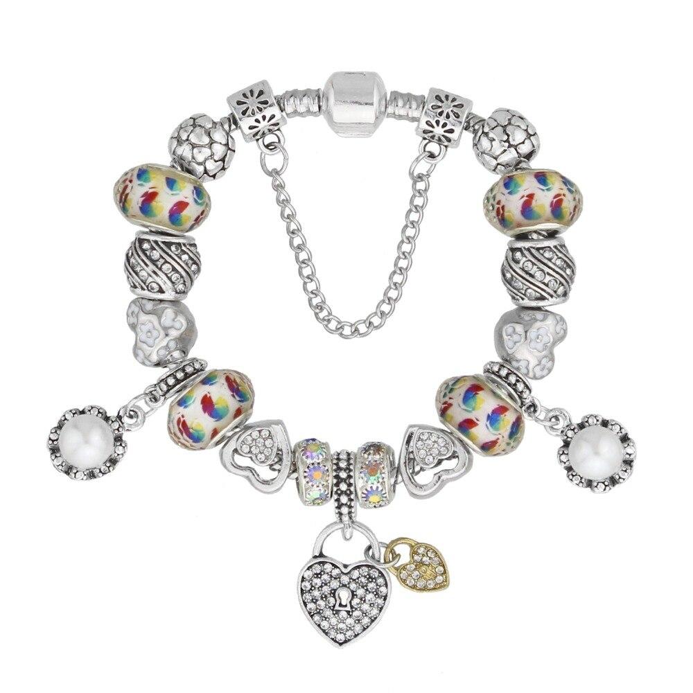 KEORMA Fashion Gift Jewelry Love Heart Charm Bracelet For Women White Glass Beads Bracelets & Bangles Diy Plusera Femme KM293