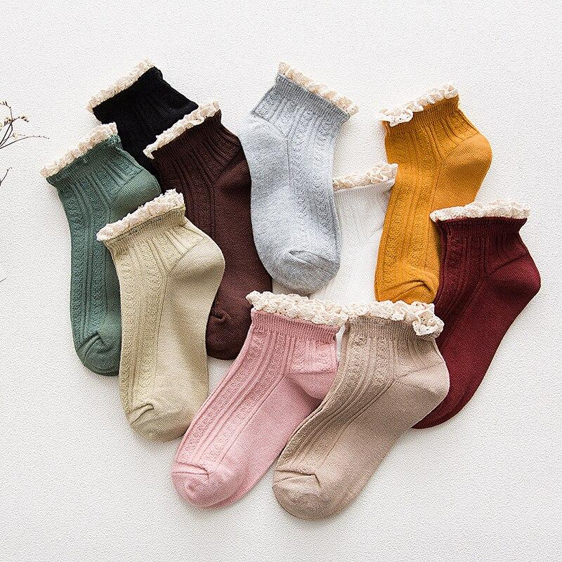 1pairs/lot Socks Spring And Summer  Women Boat Socks Cute  Kawaii Lace Cotton  Girls Princess Pure Color