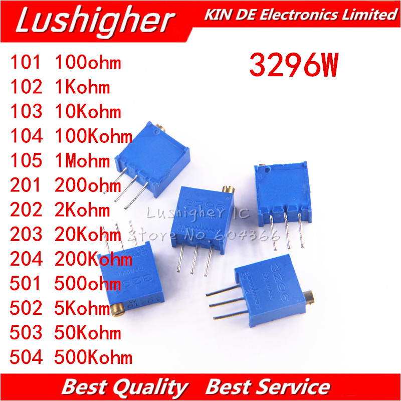 10pcs 3296 3296W 50 100 200 500 Ohm 1K 2K 5K 10K 20K 50K 100K 200K 500K 1M Ohm 103 100R 200R 500R Trimpot Trimmer Potentiometer