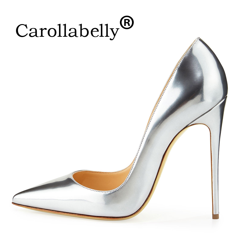 Carollabelly Brand Shoes Woman High Heels Pumps Gold High Heels 12CM Women Shoes High Heels Wedding Shoes Pumps Big Size Shoes
