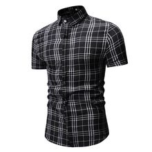 New Autumn Fashion Brand Men Clothes Slim Fit Short Sleeve Shirt Plaid Cotton Casual Social Plus Size M-3XL 1