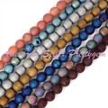 "10mm Metallic Coated Druzy Agate Round Gem Stone Beads Strand 15"",For DIY Necklace Bracelet Jewelry Making,Free Shipping"