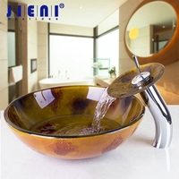 Bathroom Tempered Glass Sink Victory Vessel Washbasin With Waterfall Glass Brass Faucet Set With Basin Sink