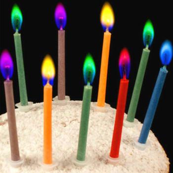 Materiały urodzinowe 12 sztuk paczka świeczki na tort weselny bezpieczne płomienie dekoracja deserowa kolorowy płomień wielokolorowa świeca tanie i dobre opinie wu fang Other Filar Urodziny Ogólne świeca Kolorowe płomień Parafina 600105
