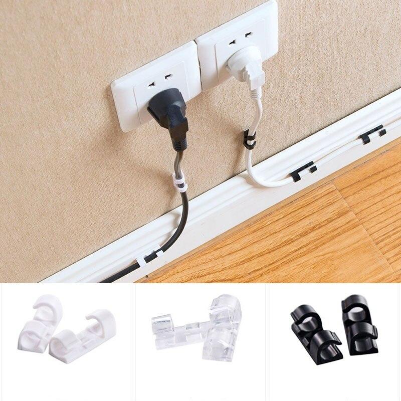 20 шт Пластиковые зажимы для кабеля 3 цвета для настольной организации офиса дома хранения пряжки кабельный зажим провода зажим самоклеющиеся мини