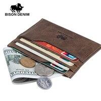 BISON DENIM 2016 New Wallet Vintage Leather Genuine Wallet Men Money Purses Mini Wallets With ID