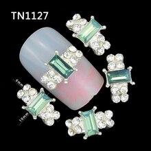 10 шт. 3D украшения для ногтей Diy Блестящий серебряный сплав Шарм прозрачные стразы светильник зеленый кристалл для ногтей Инструменты