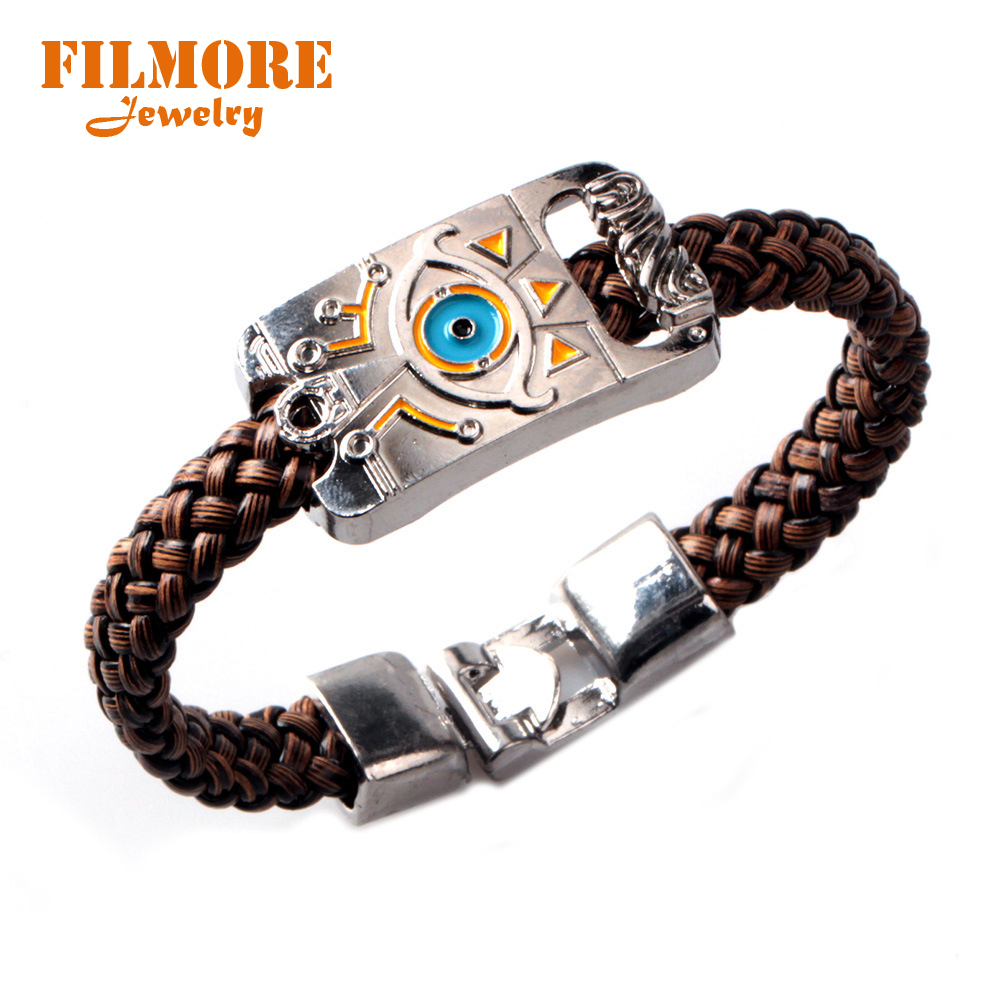 Filmore Jewelry Leather Bracelet Game The Legend of Zelda Bracelets Boy Gift Cosplay Bangles Leather Braided Wristband Wholesale
