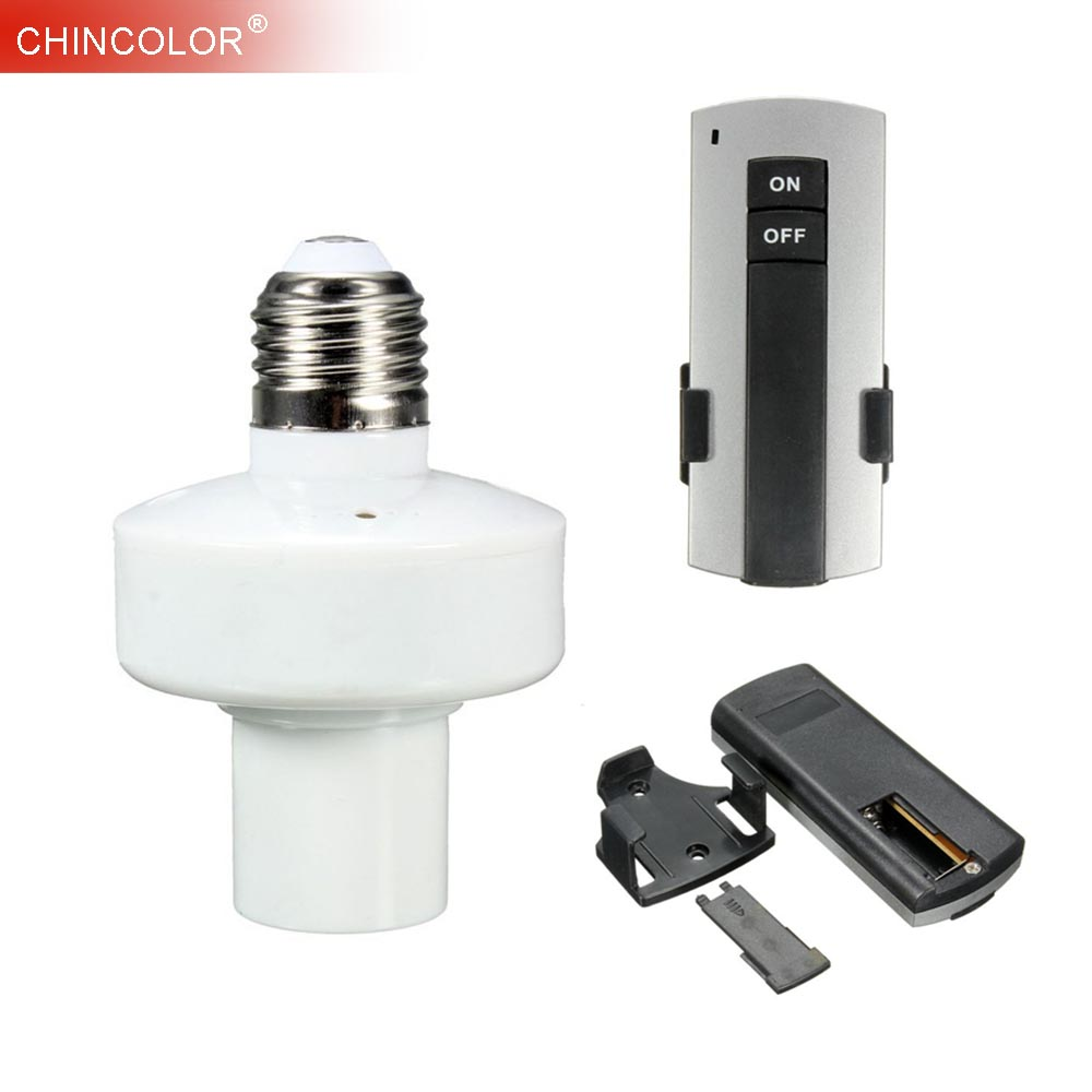 Remote Control E27 Light Lamp Bulb Holder Durable E27 Base Screw Wireless Cap Socket On Off Switch Button Fast Ship JQ new rf 315 e27 led lamp base bulb holder e27 screw timer switch remote control light lamp bulb holder for smart home
