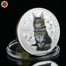 Фотография Commemorative Animal Coin Maine Coon Cat $ 5 Dollar Coins Cute Vintage Cat Design Gadget Small Metal Crafts