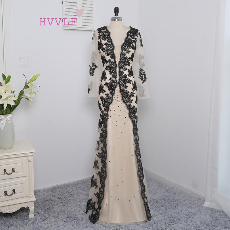 HVVLF šampanja moslemi õhtukleidid 2019 Merineitsi V-kaelusega pikkade varrukatega aplikatsioonidPikk õhtukleit Prom kleit
