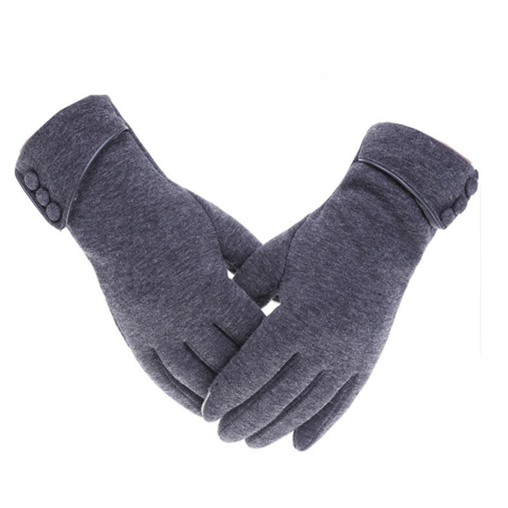 Touch-Screen-Gloves Wind-Proof Outdoor Lined Velvet Cycling Fleece Anti-Skid Female Micro