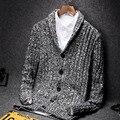 Мужчины свитер 2017 новая весна и осень тонкий кардиган отложным воротником свитера мужской тонкий V-образным Вырезом трикотажные пальто синий серый