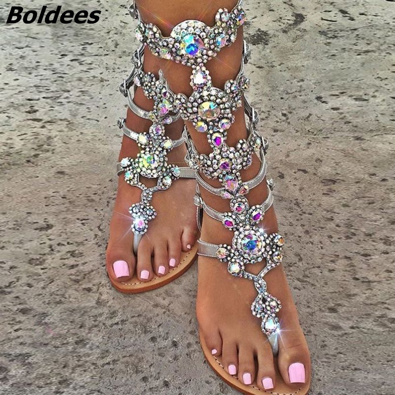 цены на Boldees Plus Size Top Quality Luxury Style Rhinestone Bohemia Woman Sandals Fashion Glittering Summer Buckle Strap Lady FlatShoe в интернет-магазинах