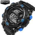 Relogio masculino sanda moda casual homens relógios top marca de luxo relógios de pulso de quartzo analógico digital led sports watch men