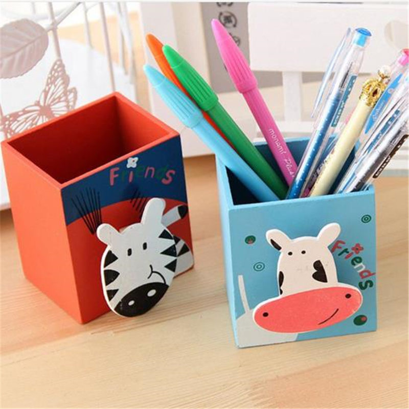 Coloffice Cute Painted Animal Children Pen Holder Creative Korean Stationery Cartoon Cute With Note Clip Wood Product Random 1PC