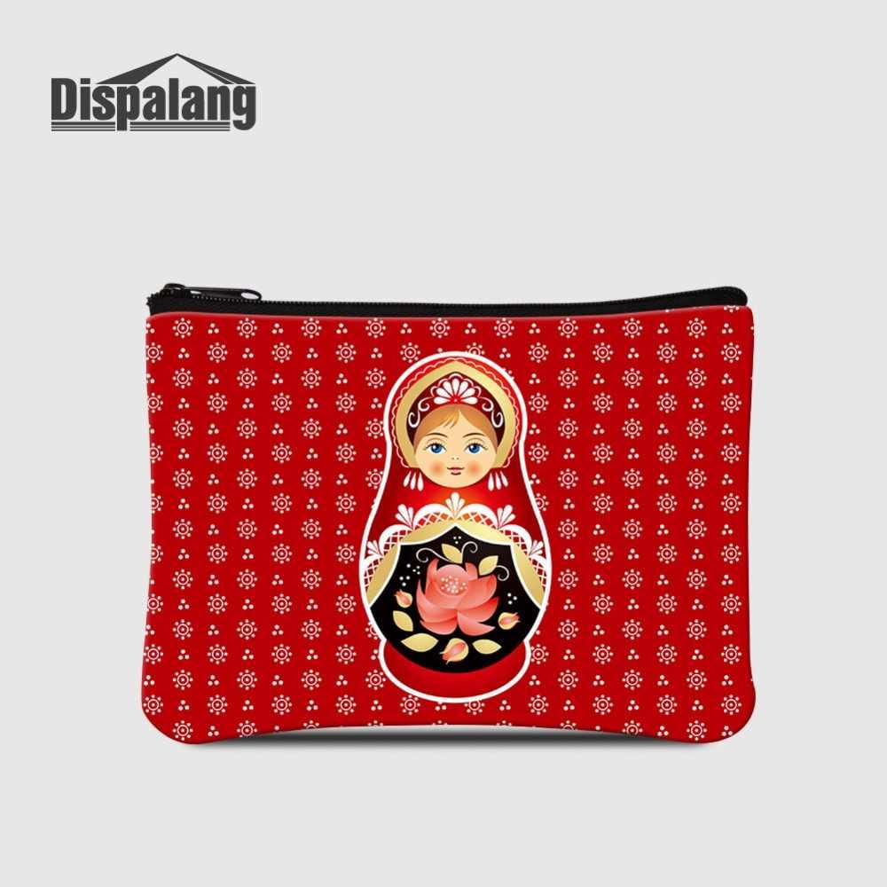 รัสเซีย Mascot ตุ๊กตา Matryoshka พิมพ์กระเป๋าเหรียญผู้หญิงกระเป๋าสตางค์มินิซิปสำหรับช้อปปิ้งเด็กการ์ตูนเปลี่ยนถุงเงิน