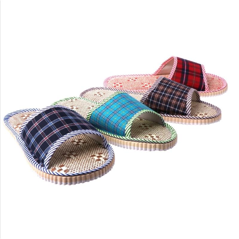 2018 Unisex Linen Flax Plaid Home Flat Slipper Indoor Cozy Open Toe Scuffs Slip-on Flat Slipper Men Women Shoes Fashion New Shoe