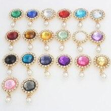 Nidalee Rhinestone Applique Handmade Button Pearl Crystal DIY Botones Decorative Wedding Dresses Metal Flatback Accessories 27mm