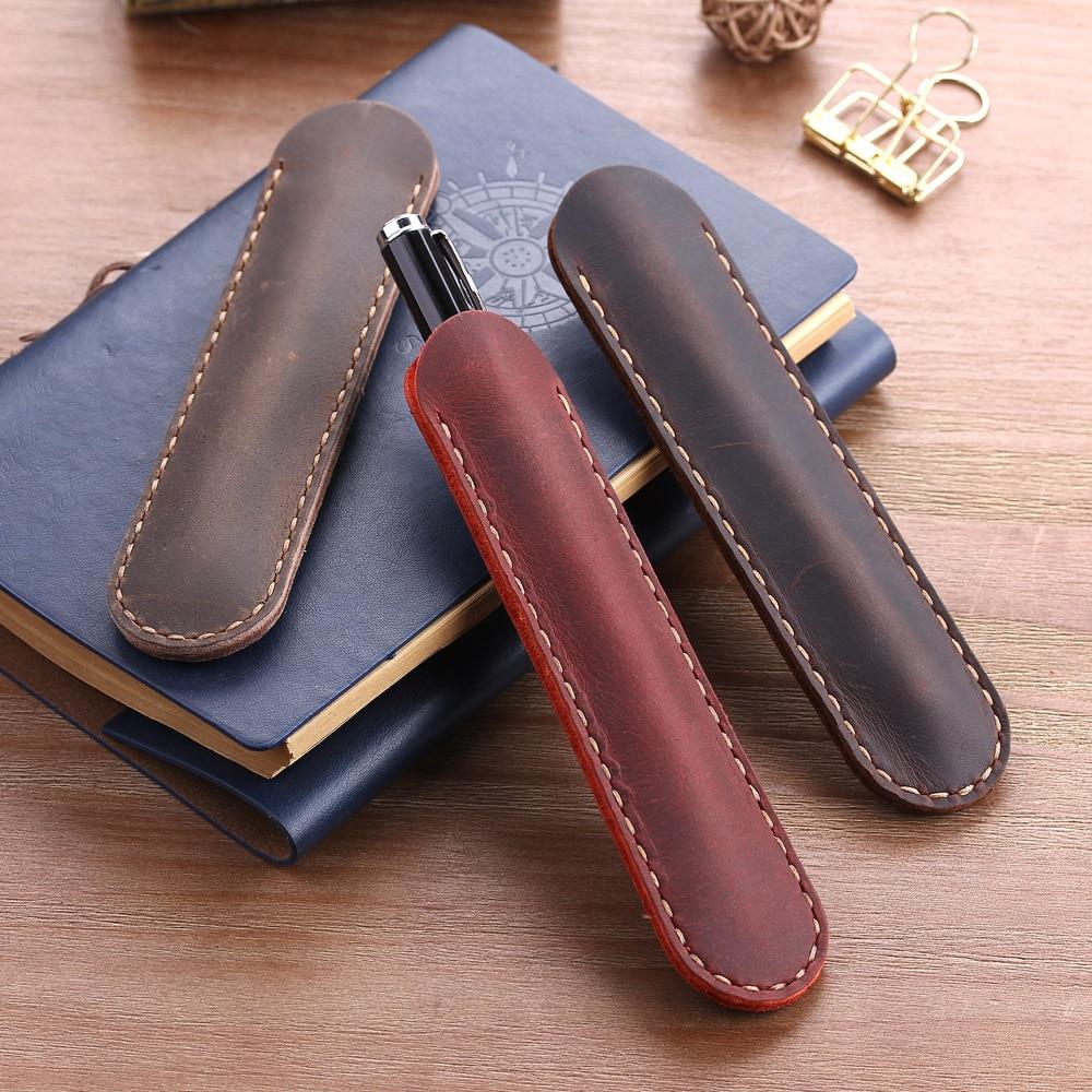 Vintage Handmade Leather Double Pen Case Holder Carved Flower Cowhide Fountain Pen Sleeve Pen Pouch Black