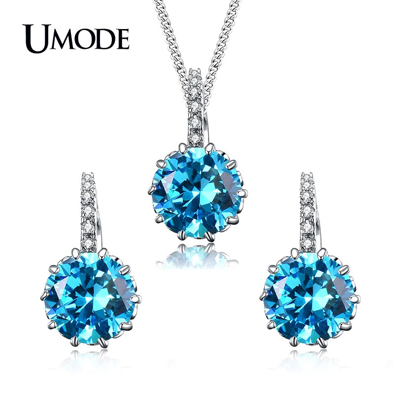 Wedding Earrings White Gold: Aliexpress.com : Buy UMODE Fashion Top Blue Round CZ