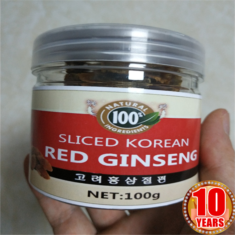 10 Years Old Natural Korean Red Panax Ginseng Slices,Hong Shen,Radix Ginseng Rubra,Top Quality 100g/bottle сертифицированный китайский дикий 15 лет panax ginseng сертификация полное корни 5g