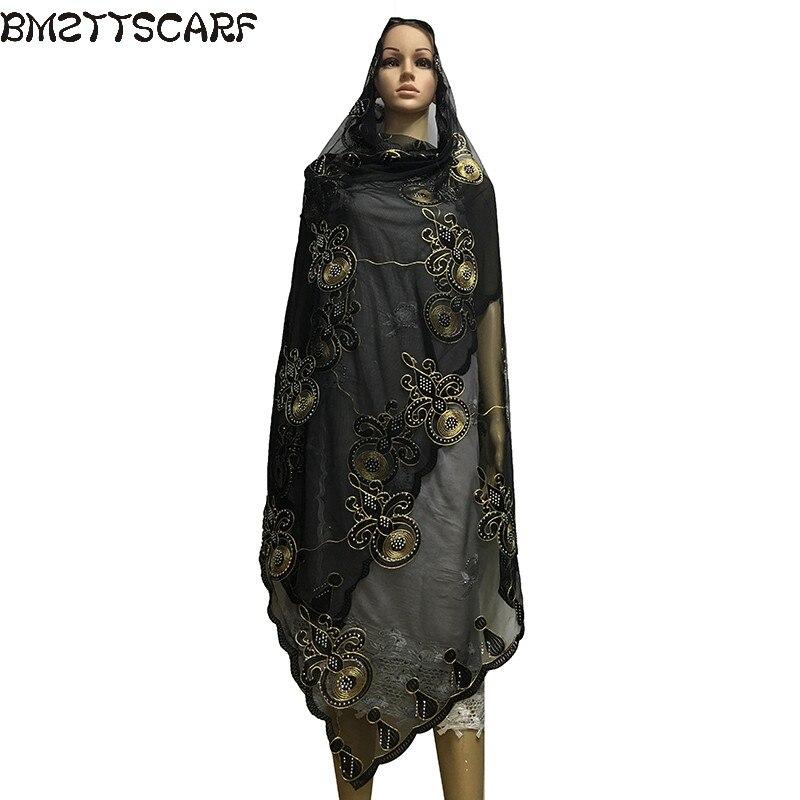 Новая африканская шарфы мусульманская вышивка чистая прозрачный шарф дышать черный шарф 2.0*1.0 метра BM505