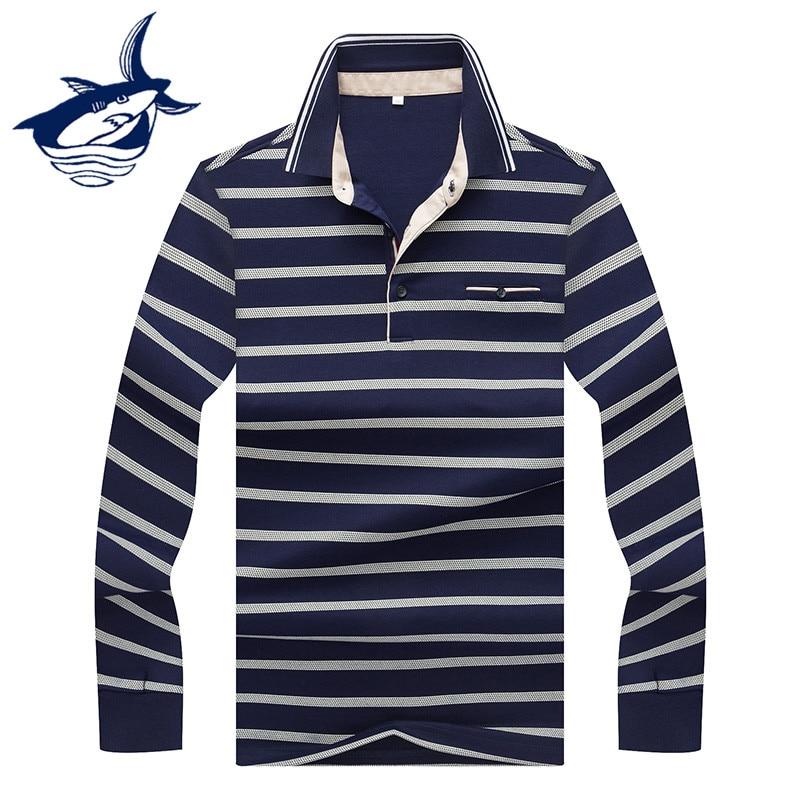 2018 New Autumn Spring Long Sleeve Striped   Polo   Men Jerseys Cotton Smart Casual Camisa   Polo   Brand Tace & Shark   Polo   Shirt Men