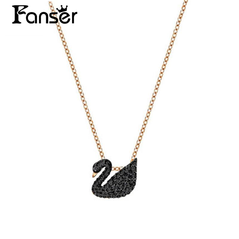FANSER Black Swan Necklace TWO SIZE Fashion Classic Swarov Gold color 925 Sterling silver Womens chain Has Logo Free Mail