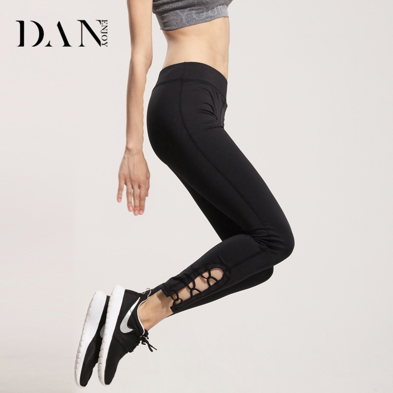 DANENJOY Yoga Sports Pants Womens Leggings Fitness Gym Elastic Athletic Tights Running Compression Slim Pants Long Black XL