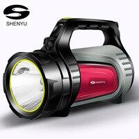 SHENYU 15w 슈퍼 밝은 야외 휴대용 휴대용 USB 충전식 손전등 토치 서치 다기능 롱 샷 램프