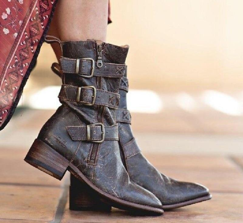 Mujeres Mujer dark Correa Bajo Hebilla La Cuero Brown Chaussures Pie Dedo Moto khaki Botas Invierno De Las Zapatos Del Tacón Femme Puntiagudo Yellow Ix4RnZwqAf