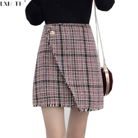 2017 New Tweed Skirt A Line Plaid Skirt Korean One Botton Hot Women Mini Skirts High