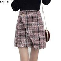 2018 חדש טוויד חצאית חצאית קו משובץ קוריאני אחת בוטון חם נשים גבוהה מותן גבירותיי חצאית חצאיות מיני ציפר טוס אדום שחור L
