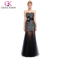 Free Shipping Grace Karin Sexy Strapless Colorful Sequins Black Tulle Ball Gowns Evening Prom Party Celebrity