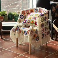 DIY Craft Fringe blanket Granny square Crochet sofa Throw floral blanket with tassels cushion felt pastoral style wedding gift