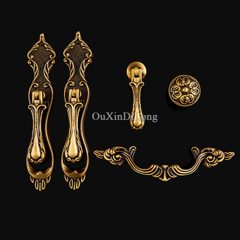 10PCS Retro Vintage Brass Furniture Handle European Antique Furniture Door Handle Drawer Pulls Kitchen Cabinet Handles and Knobs 96mm cabinet handles palace euro style furniture ivory with 24k golden knobs closet door handle drawer pulls bars