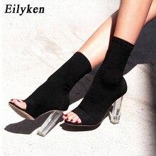 bd01a9a56d Eilyken Novo 2018 Outono Ankle Boots Moda Botas Mulheres Saltos Peep Toes  Saltos Sapatas Das Mulheres Esticar Tecido Transparent.