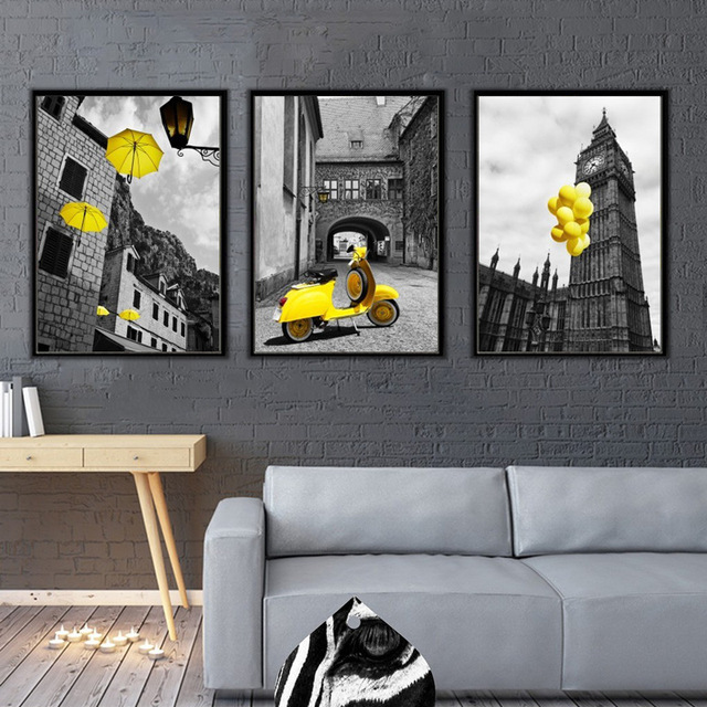Haochu Street Photograph Yellow Black Gray Art Canvas Painting Modern London City Building Living Room Home