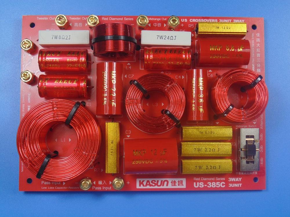 1 pièces KASUN US-385C 3 Façon 3 Unité 230 W Salut-fi Audio Haut-Parleur diviseur de fréquence Crossover Filtres
