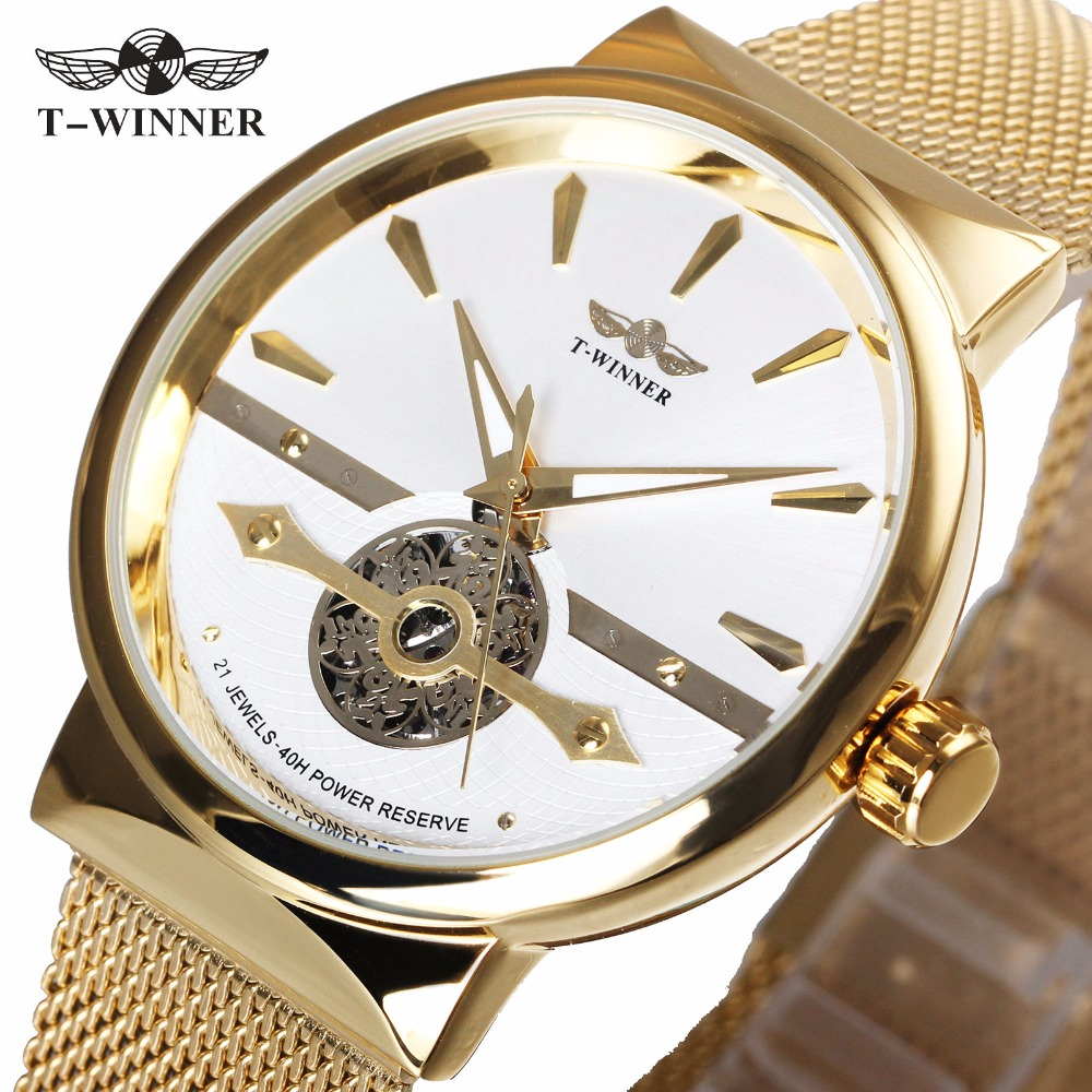 WINNER Business Golden Men Automatic Mechanical Watch Mesh Strap Skeleton Dial 3D Scale Design Royal Style Gentleman Wristwatch winner men fashion black auto mechanical watch leather strap skeleton dial square shape round case unique design cool wristwatch