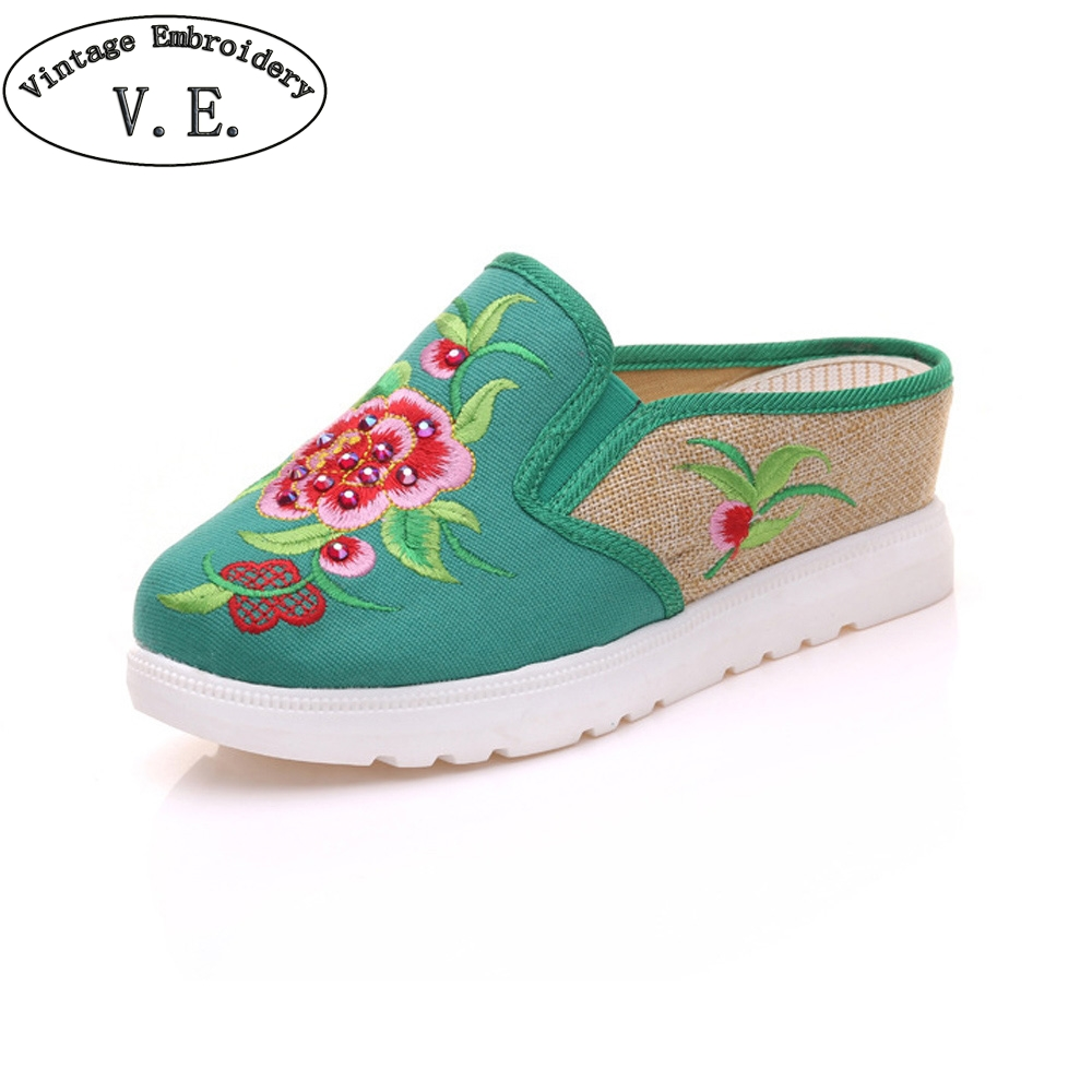 Vintage Women Slippers Spring Summer Chinese Peony Floral Embroidered Sandals Comfortable Shoes Woman Chinelo Feminino mnixuan women slippers sandals summer