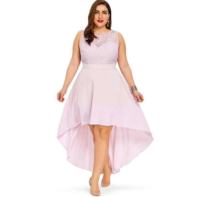 e484f3587fa45 LANGSTAR Plus Size sexy party Dress Sleeveless High Low Hem Bridesmaid robe  Women sundress Lace Sheer long A Line Dress vestidos-in Dresses from  Women s ...