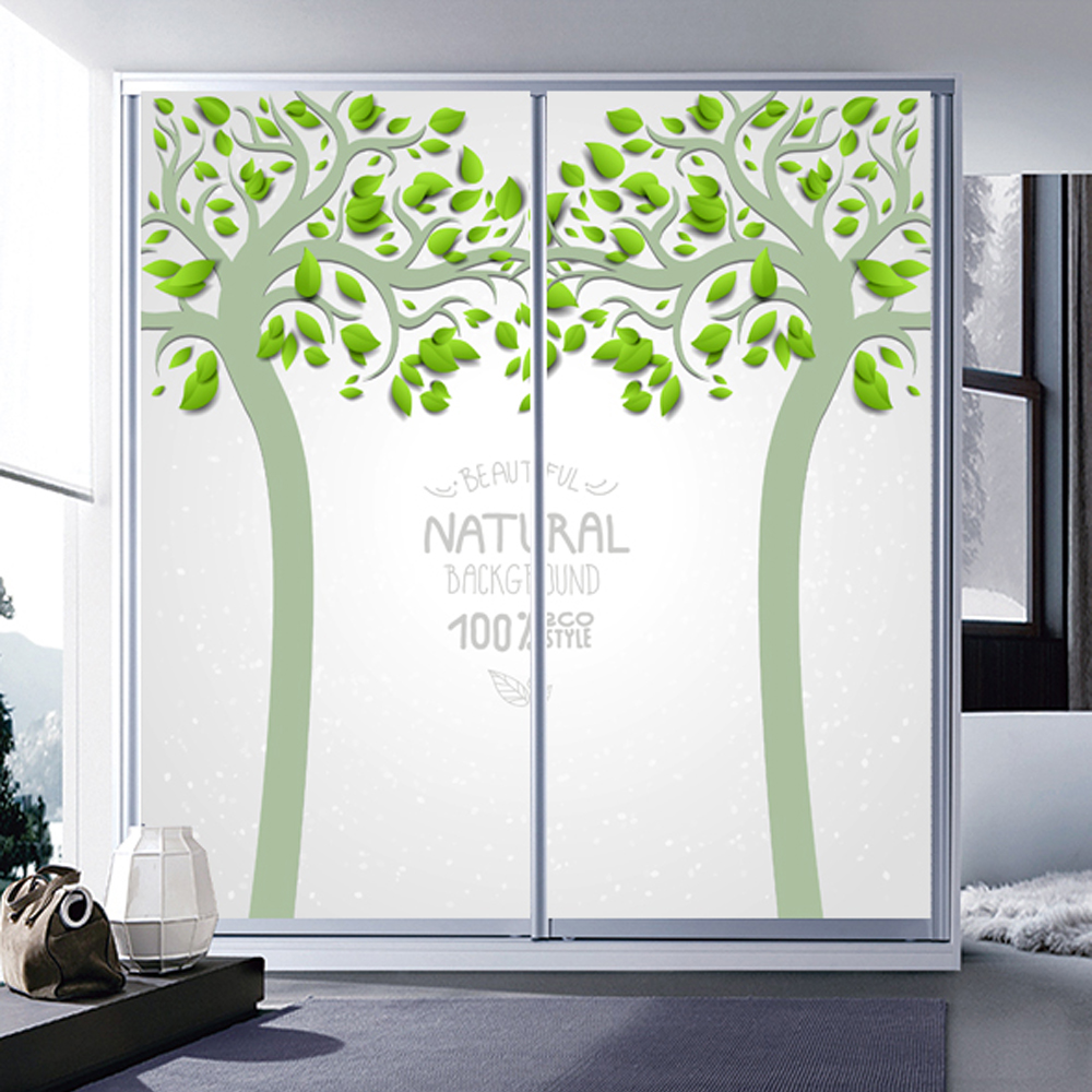 Yazi hd customized size pvc tree bedroom sliding door - Sticker porte de placard ...