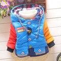 Горячая продажа 2015 новый детская одежда мальчики лоскутные прохладной зимой теплая куртка дети девочки верхней одежды пальто свитера мальчиков Вниз и парки