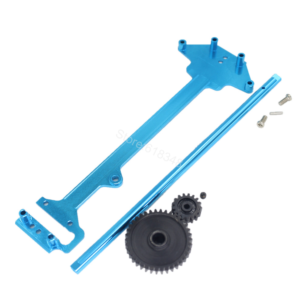 For WLtoys A979 Alum Radio Tray Centre Drive Joint Spur Metal Differential Main Gear 38T Motor Pinion 17T 1/18 RC Truck Parts