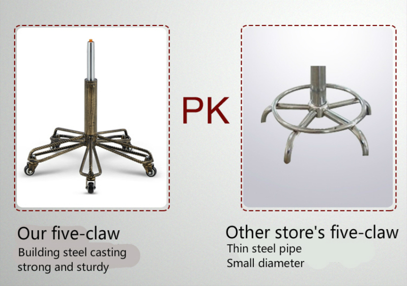 Купить с кэшбэком Classical Style Steel Stool Lift Rotating Chair Household Commercial With Backrest High Quality PU Five Claws Craft Wheel Seat